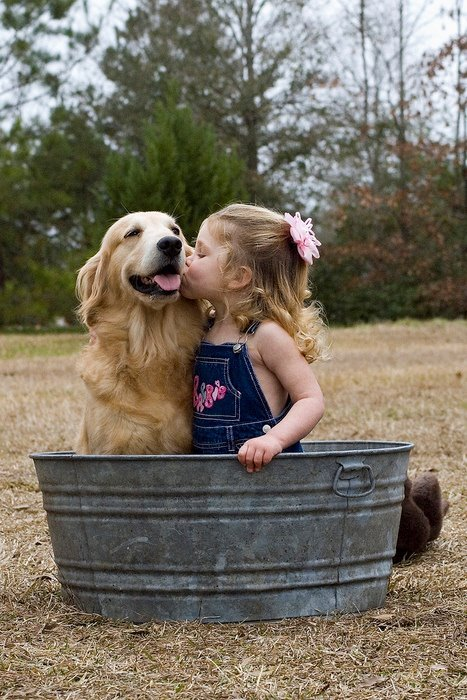 adorable, baby girl, dog, sweet