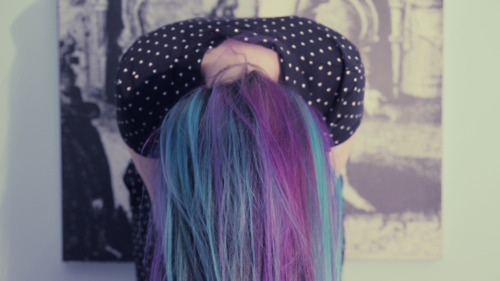 alternative, beautiful, blue, color, colorful, cool, cute, girl, hair, photography, pretty, purple, scene