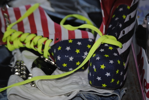 america, american flag, awesome, bright, cool, heels, jeffery campbell, neon, shoes, stars
