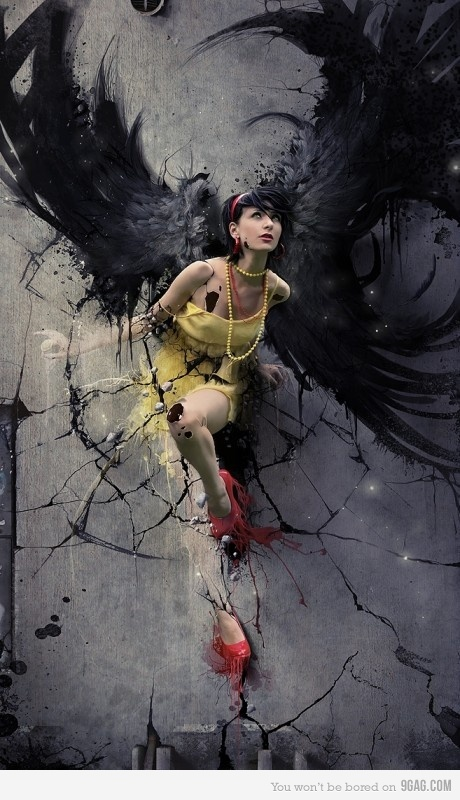 angel, art, awesome, cool, crazy awesome, creativity, creativity girl angel, creativity win!, dark, dress, epic, girl, style, wall, wings, yellow