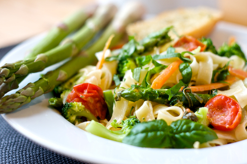 asparagus, food, greens, pasta, vegetables