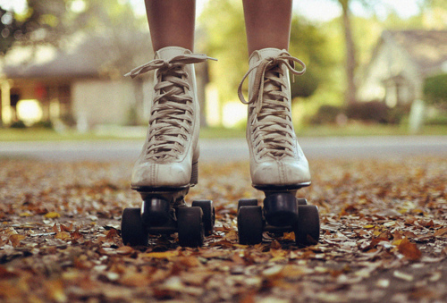 autumn, cream, cute, fall, leaf, leaves, photography, pretty, roller skates
