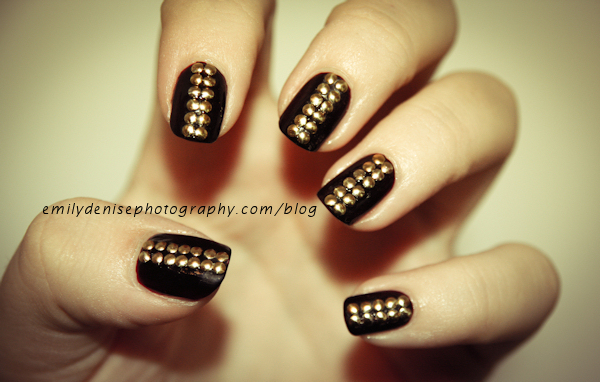 awesome, gold, manicure, studs