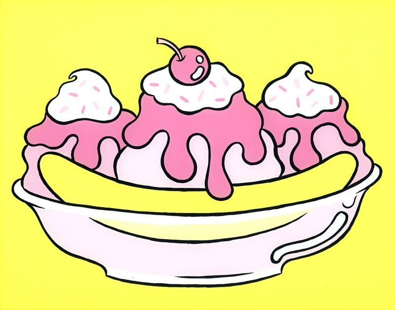 banana split, fawn gehweiler, ice cream, ice cream sunday, illustration