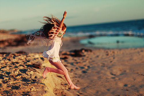 beach, beautiful, fun, girl, happy, jump, ocean, sea, style, summer, sun, sunlight