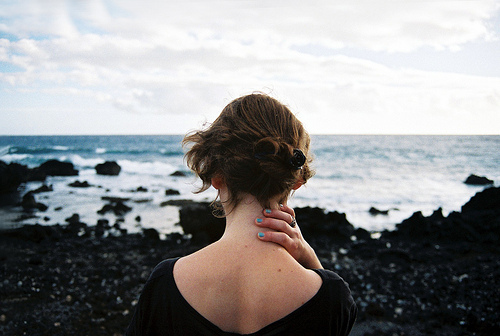 beach, black, blue, bun, cloud, clouds, cute, froth, girl, hair, messy, nails, ocean, photography, pretty, rock, rocks, sand, sea, shore, simple, sky, water, wave, waves, white