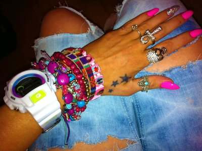 beads, bracelets, colorful, jewlery, nails, rings, stars, tattoo