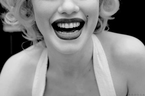 beautiful, black & white, lips, marylin monroe, pretty