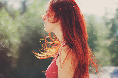 beautiful, bokeh, ginger, girl, hair