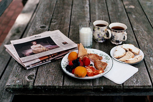 beautiful, breakfst, color, colorful, colors, delicious, food, fruit, fruits, newspaper, newspapers, photography, pretty, tasty, tea, vintage, wooden desk, yum, yummy
