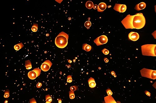 beautiful, dark, dream, dream forever, lantern, lanterns, light, lights, night, photography, star, stars, wish, wishing