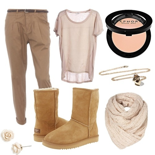 beige, beige blouse, blouse, boot, brown, cute, earrings, fashion, glamour, make up, necklace, nice, photography, qesenq, scarf, trousers