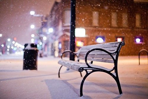 bench, snow, winter