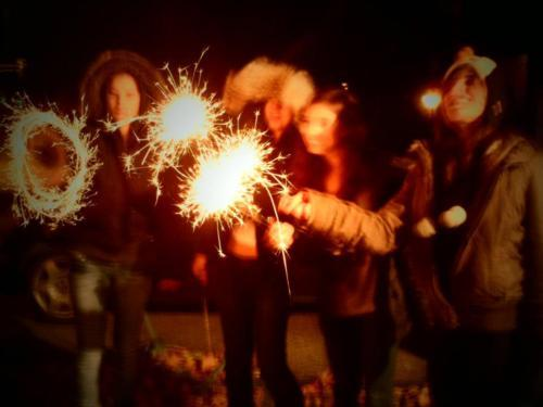 best friends, burning, clothes, de lux, fashion brunette, fire, forever, friends, friendship, girls, light, night time, outside, party, penguin hat, smile, sparklers