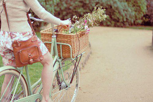 bike, dress, flowers, girl, park