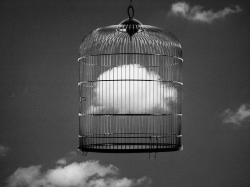 black and white, cage, clouds, conceptual, sky