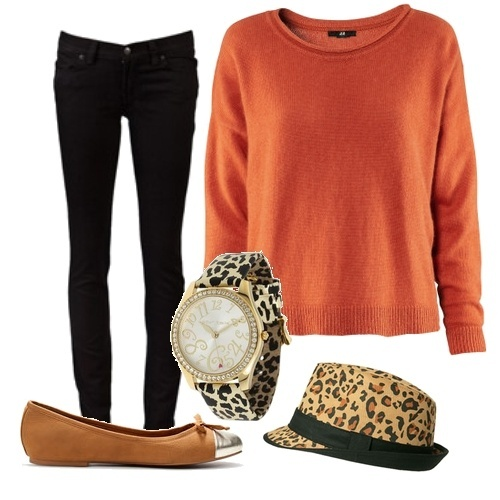 black, black trousers, brown, cap, cute, fashion, girl, glam, glamour, leopard, leopard cap, leopard watch, nice, orange, orange sweater, photo, photography, pretty, qesenq qesenq, shoes, sweater, trousers, watch, white, yoo nese var)