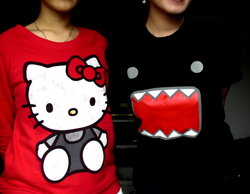 black, domo, red, t-shirt
