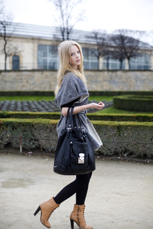 blond, fashion, pretty blonde, purse, street fashion
