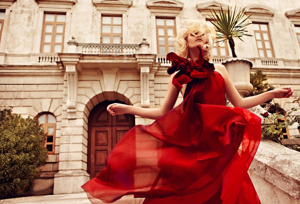blonde, chich, fashion, high fashion, red dress
