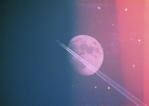 bloodylittlekisses, color, moon, night, space, spaceship