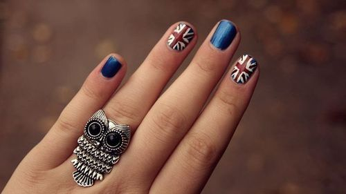 blue, britain, british, cute, fingers, flag, hand, jewelry, nail polish, nails, owl, red, ring
