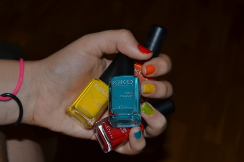 blue, green, kiko, nails, orange