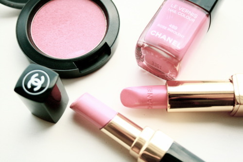 blush, chanel, cute, girly, lipstick, makeup, male up, nail polish, nailpolish, pink, vernis