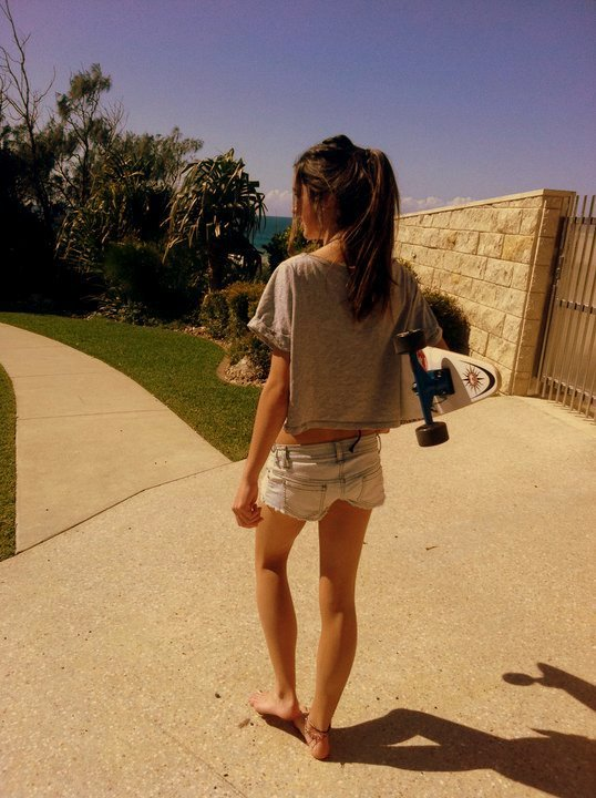 board, brunette, exotic, fashion, girl, hair, longboard, longboard girl, longboarding, road, shorts, street, summer
