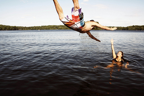 boy, boygirl, girl, jump, lake