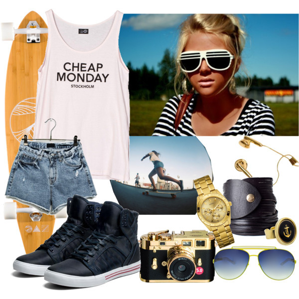 bracelets, camera, cheap monday, gold, phone, regatta, shorts, skater, summer, summer & long$, sunglasses