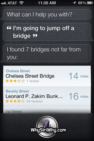 bridge, funny, iphone, jump, siri, speaker, suicude, tekst, text, true