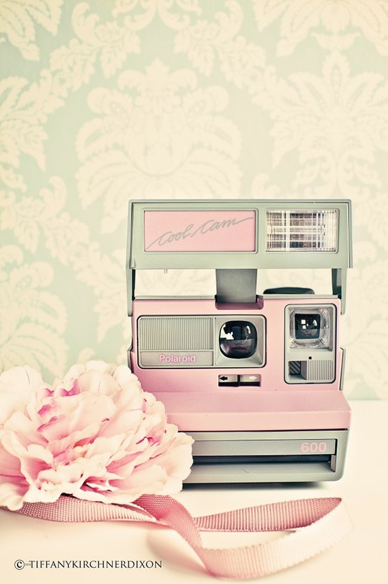 camera, pastel, photo, pink, polaroid