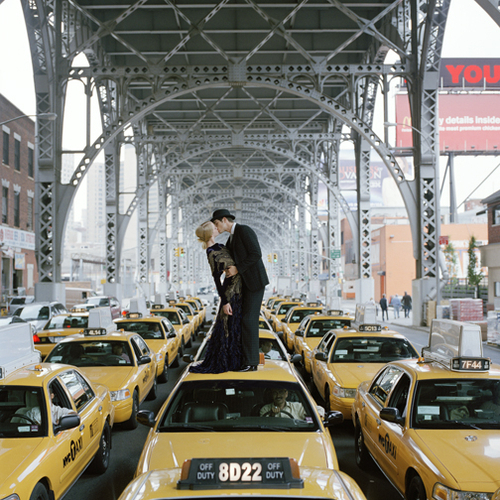 car, couple, dress, kiss, love, photography, taxi, yellow