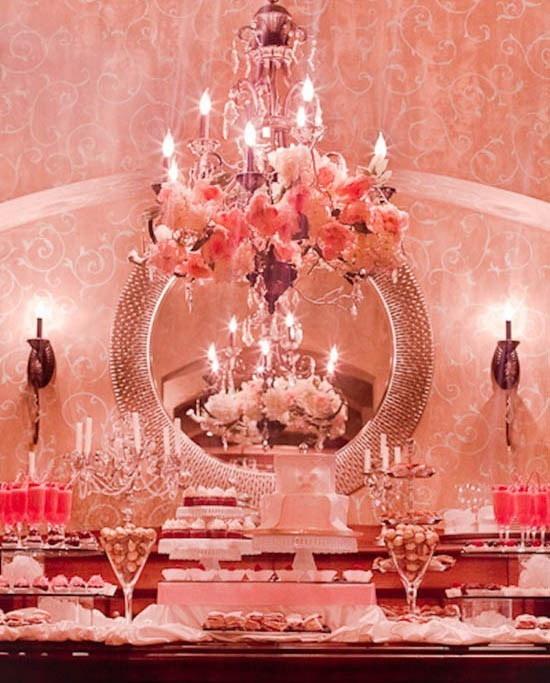 chandelier, front room, interior, pink, rococo, sweet table