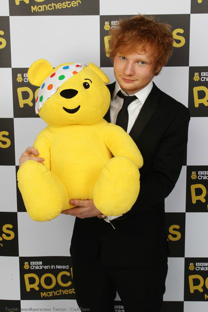 children in need 2011, cin, ed sheeran, pudsey bear, suit