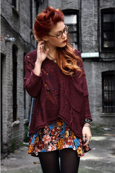 chunky sweater, fashion, lehappy, ombre hair, red hair, tights