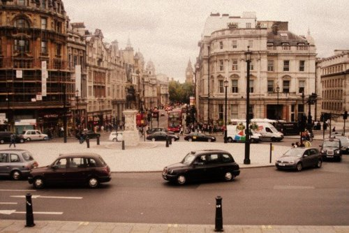city, london, square, trafalgar, vintage