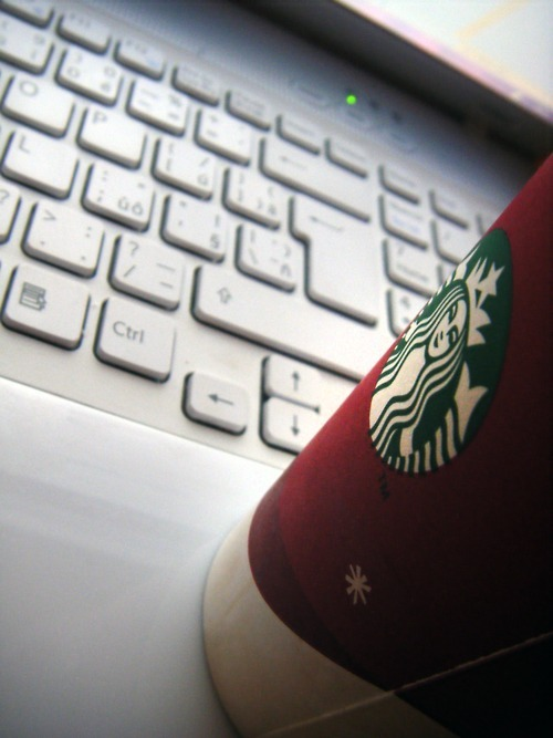 coffee, red, sony vaio, starbucks, vaio, white
