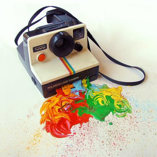 color, paint, photography, polaroid, rainbow