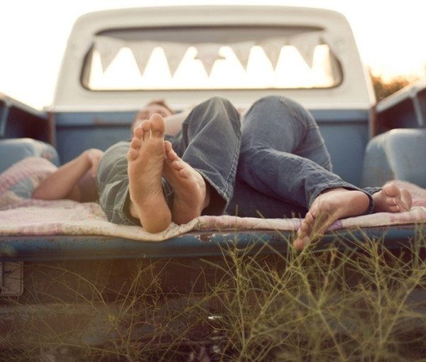 couple, cuddle, feet, field, jeans, love, toes, truck, vintage