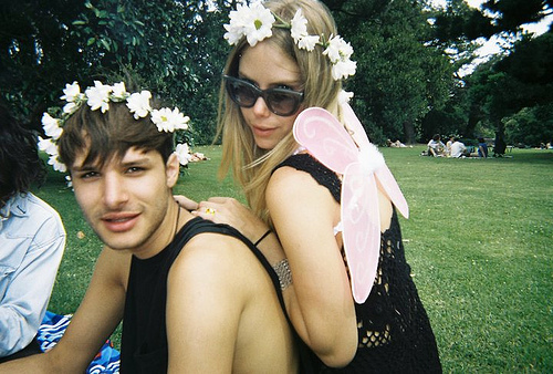 couple, flower, grass, green, hippie