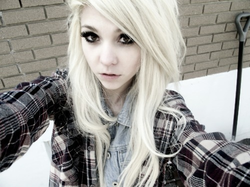 cute, girl, hair, qesenq, scene girl, scene hair, snow, white, white hair