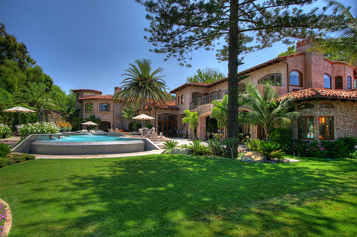 garden, house, luxury, pool, trees