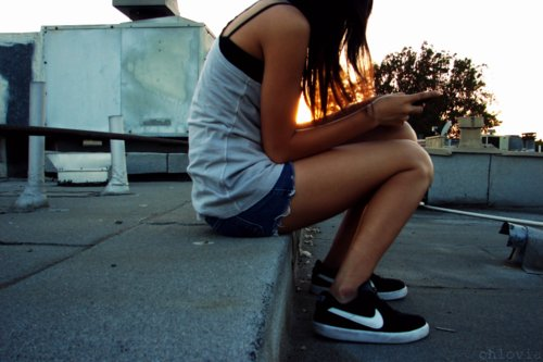 girl, nike, phone, pretty, roof, shorts, sitting, texting