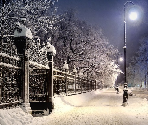 lights, sidewalk, snow, winter