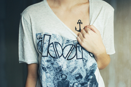 70s, anchor, band tee, body art, bones, collar bones, girl, jim morrison, music, rock, tattoo, the doors, thin, thinspo