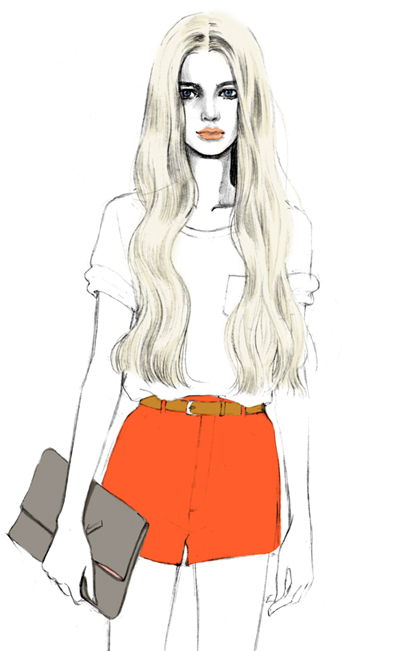 accessories, art, cool, creative, draw, drawing, hair, illustration, lineart, model, pretty, shirt, shorts