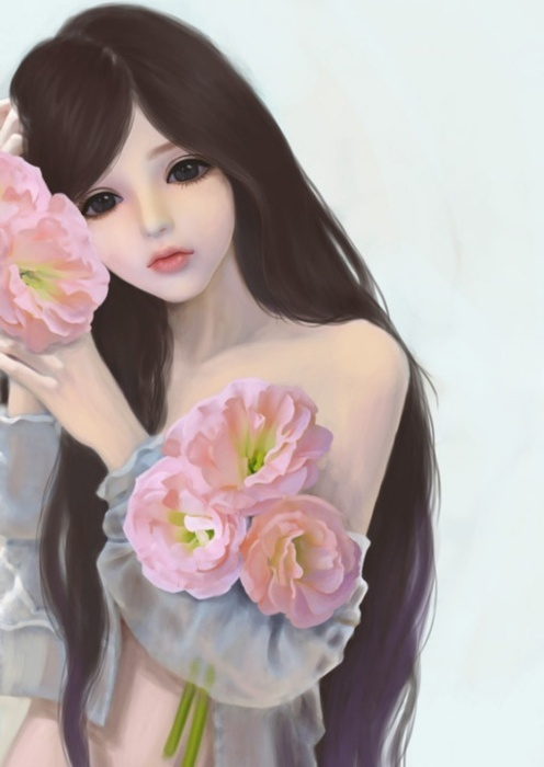 adorable, art, big eyes, creative, cute, doll, draw, drawing, eyes, flowers, illustration, lineart, pretty