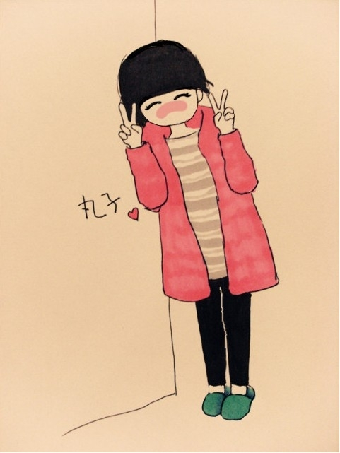 adorable, art, colors, creative, cute, draw, drawing, girl, illustration, lineart, peace, pretty